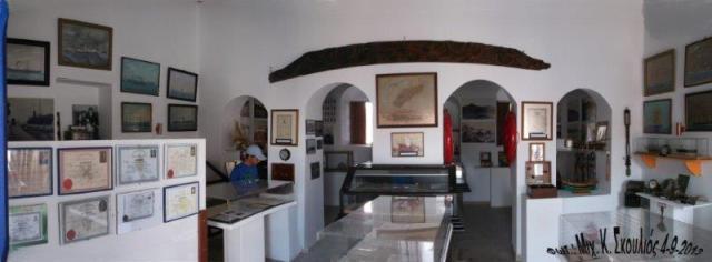 Πανοραμική εικόνα της σάλας του Ναυτικού Μουσείου Κάσου