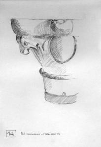 Κιονόκρανο στο γυναικωνίτη. Σκίτσο του Αλ. Πρέπη
