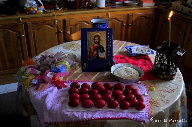 Το κασιώτικο λαμπριάτικο τραπέζι με τα κόκκινα αυγά. Φωτ. Μ.Η. Περσελής