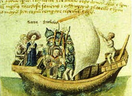 Απεικόνηση του ταξιδιού της Σκώτα και του συζύγου της από το Scotichronicon του Ε. Bower